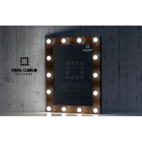 Гримерное зеркало с подсветкой по периметру 100х80 цвета кофе